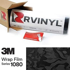 3M 1080 SB12 Shadow Black 5ft x 1ft W/Application Card Vinyl Vehicle Car Wrap Film Sheet Roll