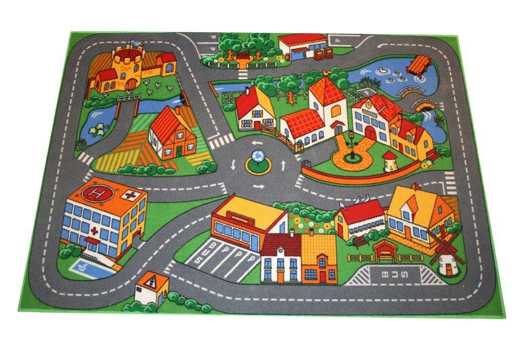 Associated Weavers - Alfombra infantil para jugar (95 x 133 cm), diseño de ciudad con carreteras 507069