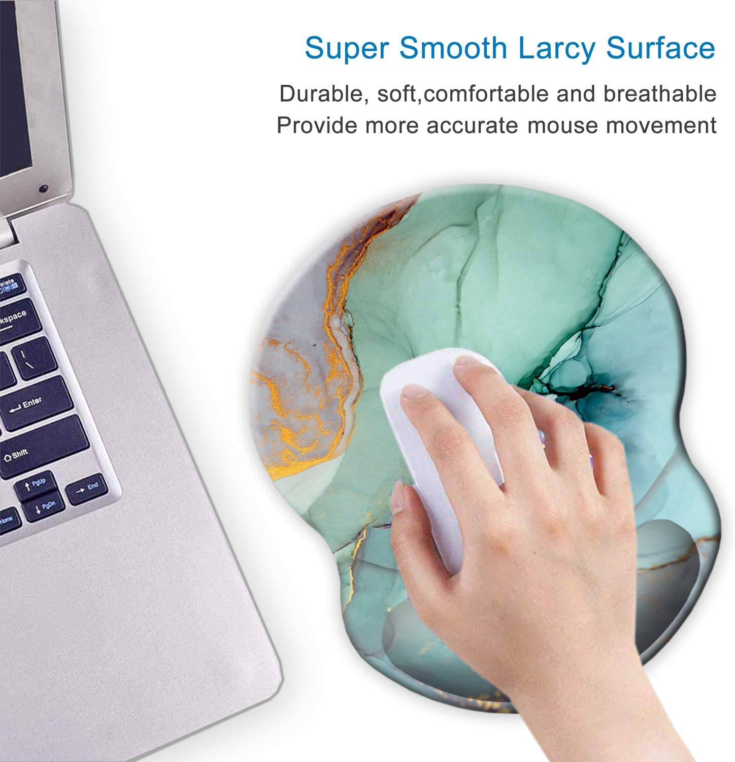 Laptop Ergonomic Mouse Pad with Wrist Support Gel,ITNRSIIET Cute Flower Wrist Pad with Non-Slip PU Base for Computer Easy Typing /& Pain Relief Home Office Gaming Working