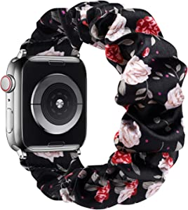 GBPOOT Adjustable Scrunchies Solo Loop Compatible with Apple Watch Bands 38mm 40mm 42mm 44mm, Stretchy Cloth Pattern Printed Fabric Women Elastic Scrunchy Wristband for iWatch Series SE/6/5/4/3/2/1