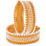 ZenemeTraditional Jewellery Gold Plated Alloy Pearl Bracelets Bangles Jewellery for Women and Girls