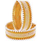 Valentine Gift : Zeneme Gold Plated Brass Bangle Set Jewellery for Women/Girls…