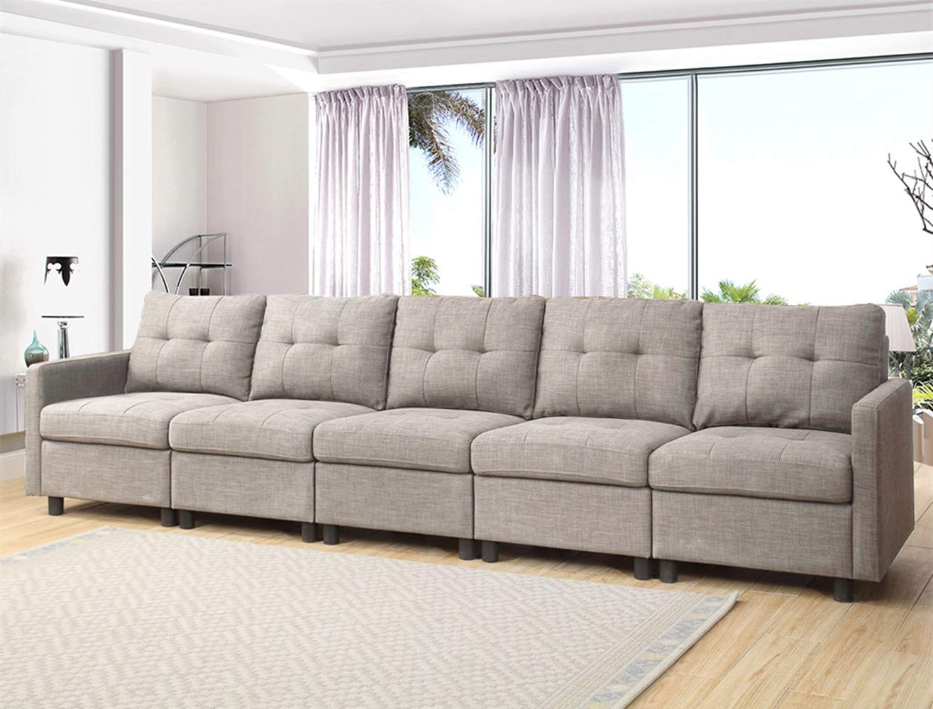OuchTek 5 Pieces Grey Modern Modular Sectional Sofas