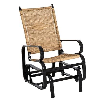 Outsunny Aluminum Wicker Rattan Outdoor Gliding Chair Garden   Tan