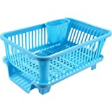 Latiq Mart Multipurpose 3 in 1 Large Sink Set Dish Rack Drainer with Removable Tray for Kitchen, Multicolor
