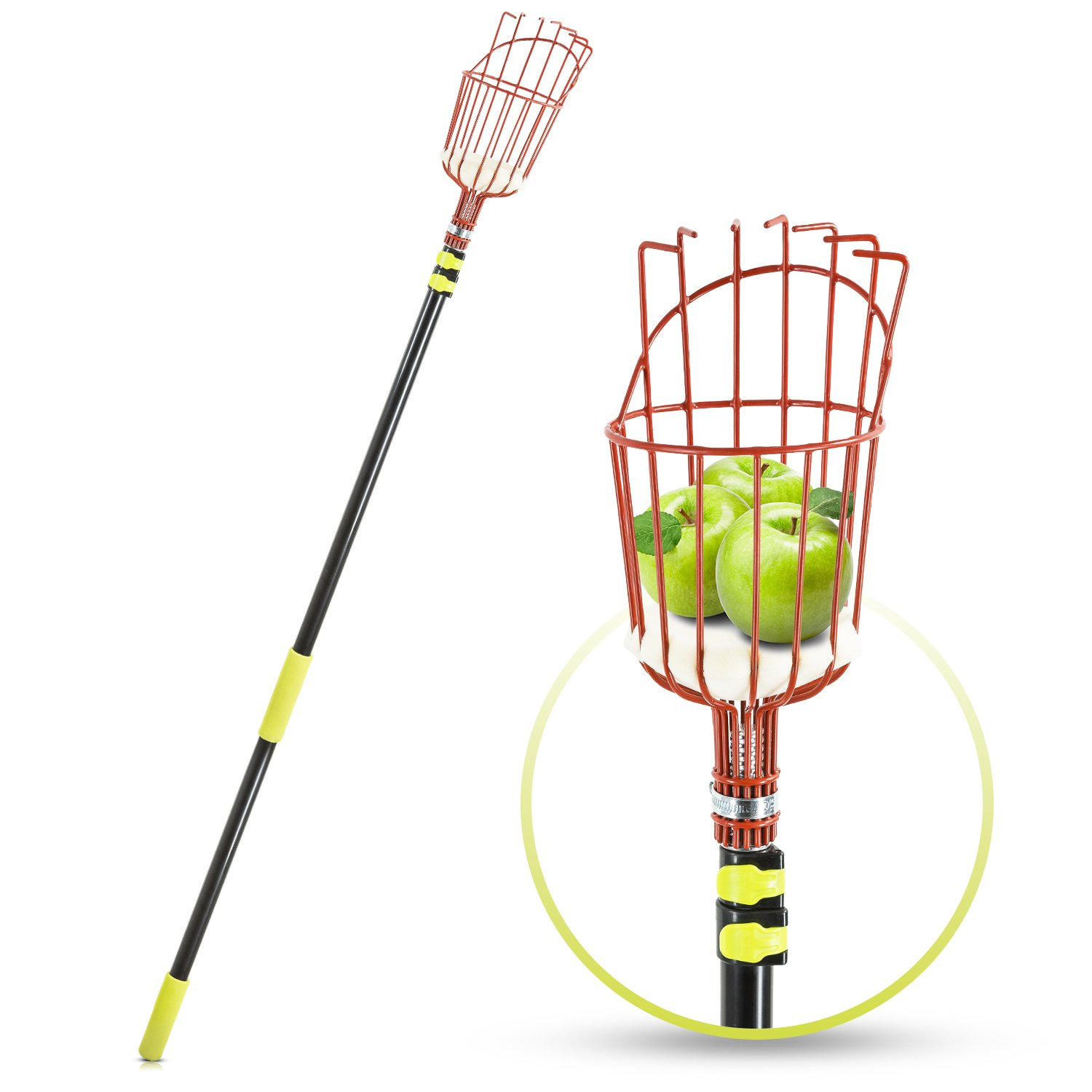 Abco Tech Fruit Picker Tool or Fruit Tree Picking Pole with Basket–13ft Long Aluminum Tree Picker with Telescoping Pole–Extra Lightweight–Ideal for Picking Oranges,Apples or any Kinds of Fruits by Abco Tech