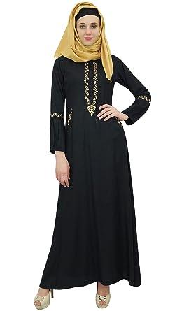 cf3c72755bbd7 Bimba Women s Muslim Black Abaya Aari Work Jilbab Islamic Dress with Hijab  - 4