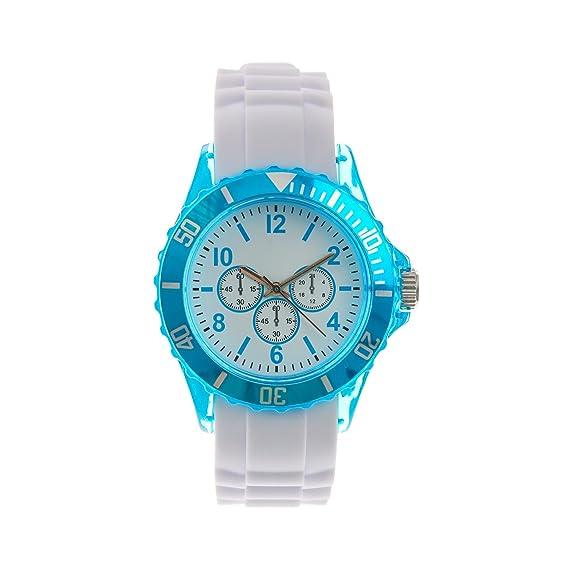 Claires - Reloj de pulsera mujer, silicona, color blanco