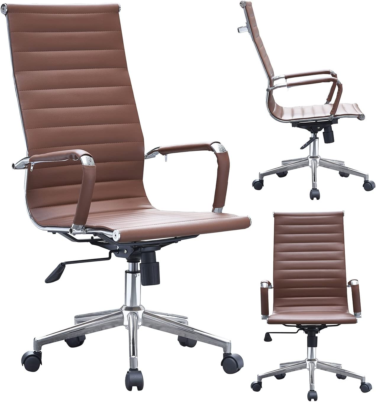 2xhome – Modern High Back Tall Ribbed PU Leather Swivel Tilt Adjustable Chair Designer Boss Executive Management Manager Office Conference Room Work Task Computer Brown