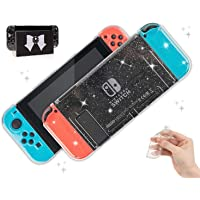 BelugaDesign Glitter Clear Switch Case | Shell Compatible with Nintendo Switch Standard | Dockable Crystal Protective…