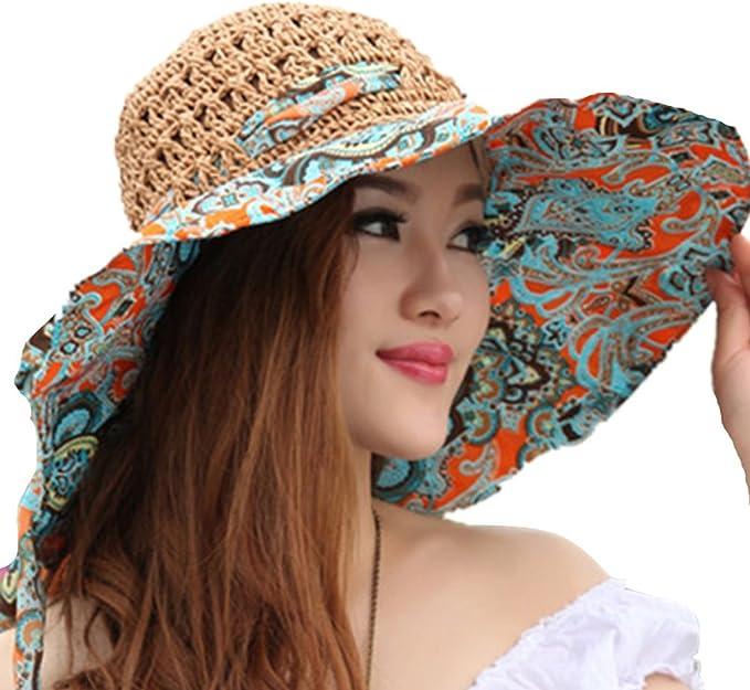 TININNA Mode Bohemia Floral Chapeau de Paille Bord Large Plage Capeline Anti-UV Casquette De Soleil Pare-Soleil Hat pour Femmes Filles