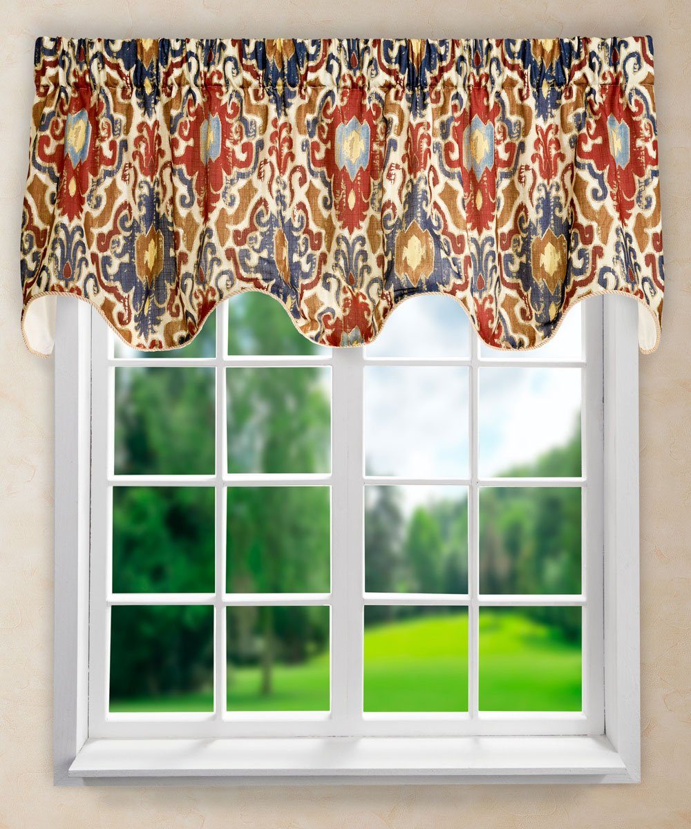 "Ellis Curtain Tuscany Lined Scallop Valance, 70 x 17"", Red"