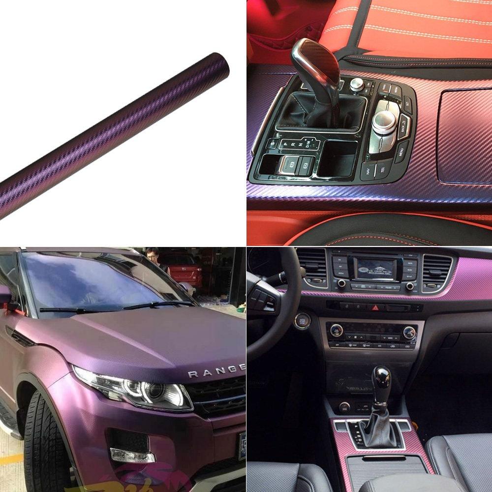 60cm x 152cm ATMOMO Purple and Blue Car Chameleon Wrap Auto Carbon Fiber Wrapping Film Vehicle Change Color Sticker Tint Vinyl Air Bubble Free