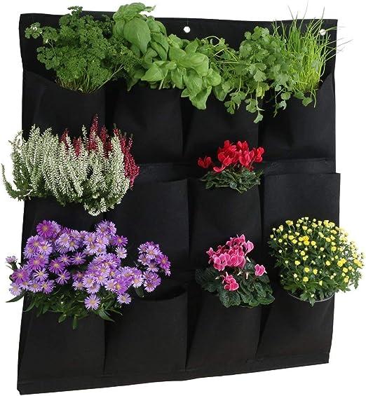 Longsing Bolsas de Crecimiento Bolsillo Colgante Jardín Jardinera de Cultivo Vertical Vertical Montada en la Pared con 12 Bolsillos Bolsas para Plantas Bolsas de Flores Colgantes: Amazon.es: Jardín