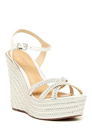 0cf87913098 SCHUTZ Monicah Pearl White Woven High Heel Wedge Platform Ankle Strap  Sandals (10)