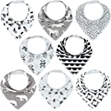 MYZIDEA Unisex 8-Pack Baby Bandana Drool Bibs for Boys and Girls. Baby Bibs Drooling and Teething, 100% Organic Cotton, Super