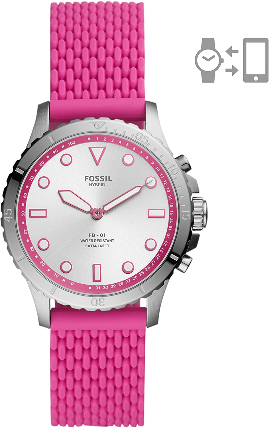 Fossil Women's FB-01 Stainless Steel Hybrid Smartwatch with Activity Tracking and Smartphone Notifications Silver/Pink Silicone