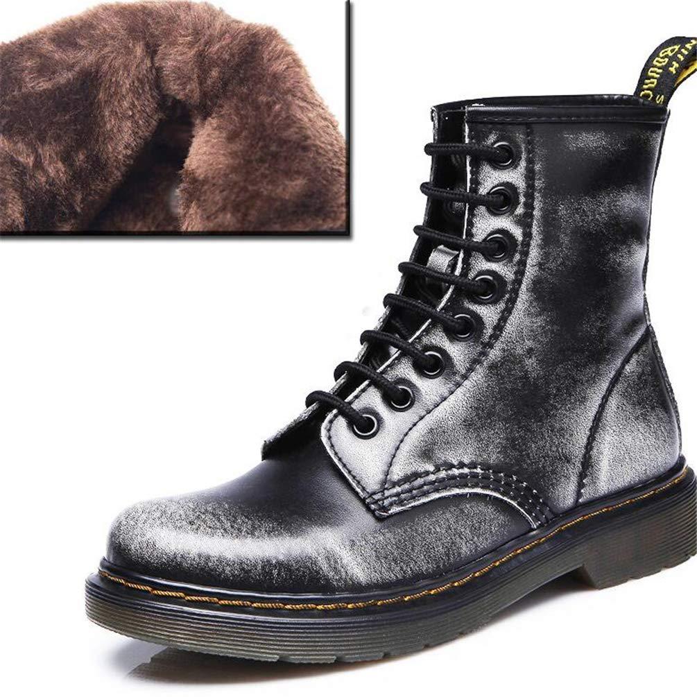 HhGold Damen Stiefeletten Leder Schnürsenkel Reiten Outdoor Sports Weibliche Schuhe (Farbe   grau Winter Größe   3.5=36 EU)