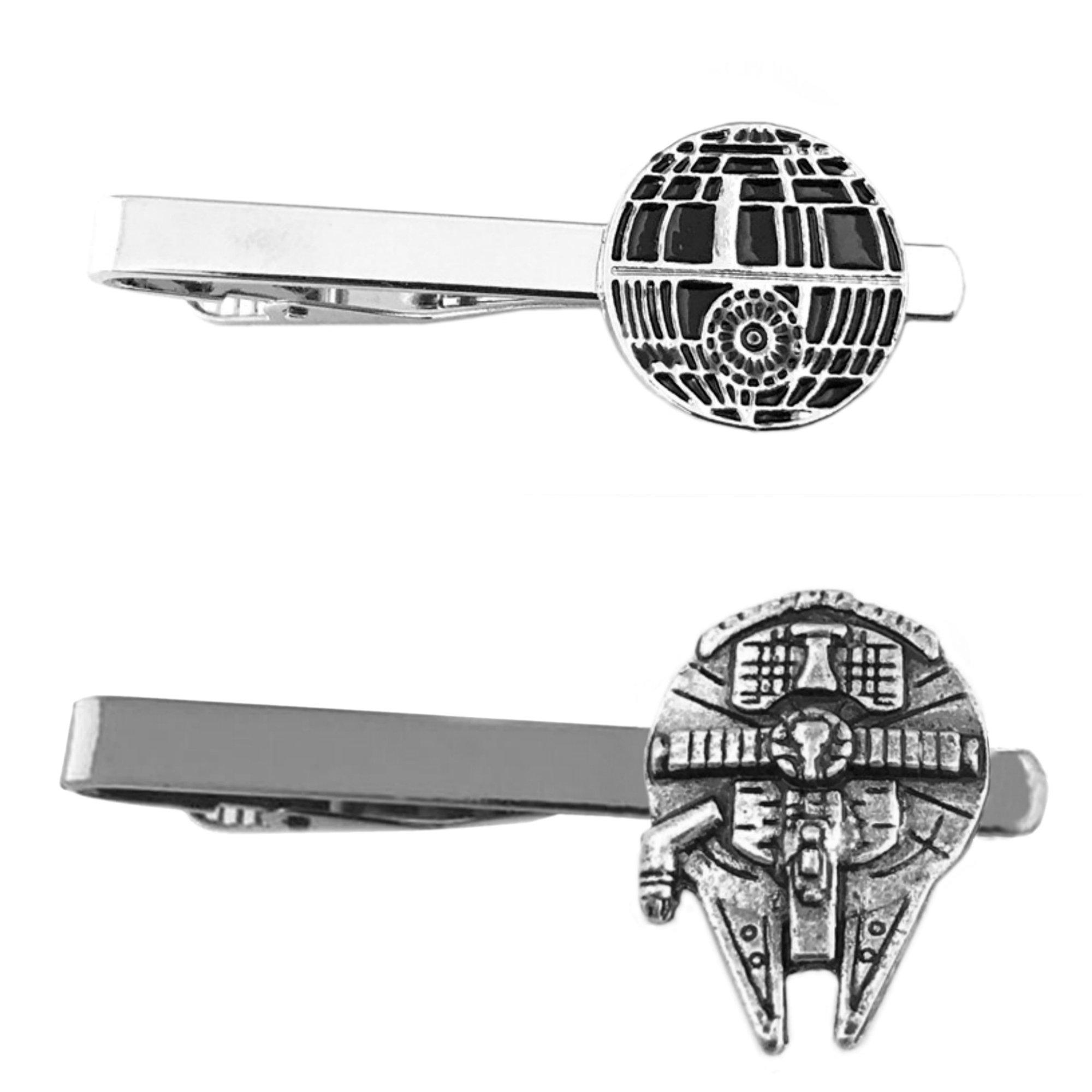 Outlander Star Wars - Death Star & Millenium Falcon - Tiebar Tie Clasp Set of 2 Wedding Superhero Logo w/Gift Box