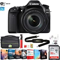 Canon EOS 80D 24.2 MP CMOS DSLR Camera w/EF-S 18-135mm f/3.5-5.6 is USM Lens (1263C006) w/ 32GB Deluxe Accessory Bundle Includes, Deco Gear Camera Bag and Photo and Video Professional Editing Suite