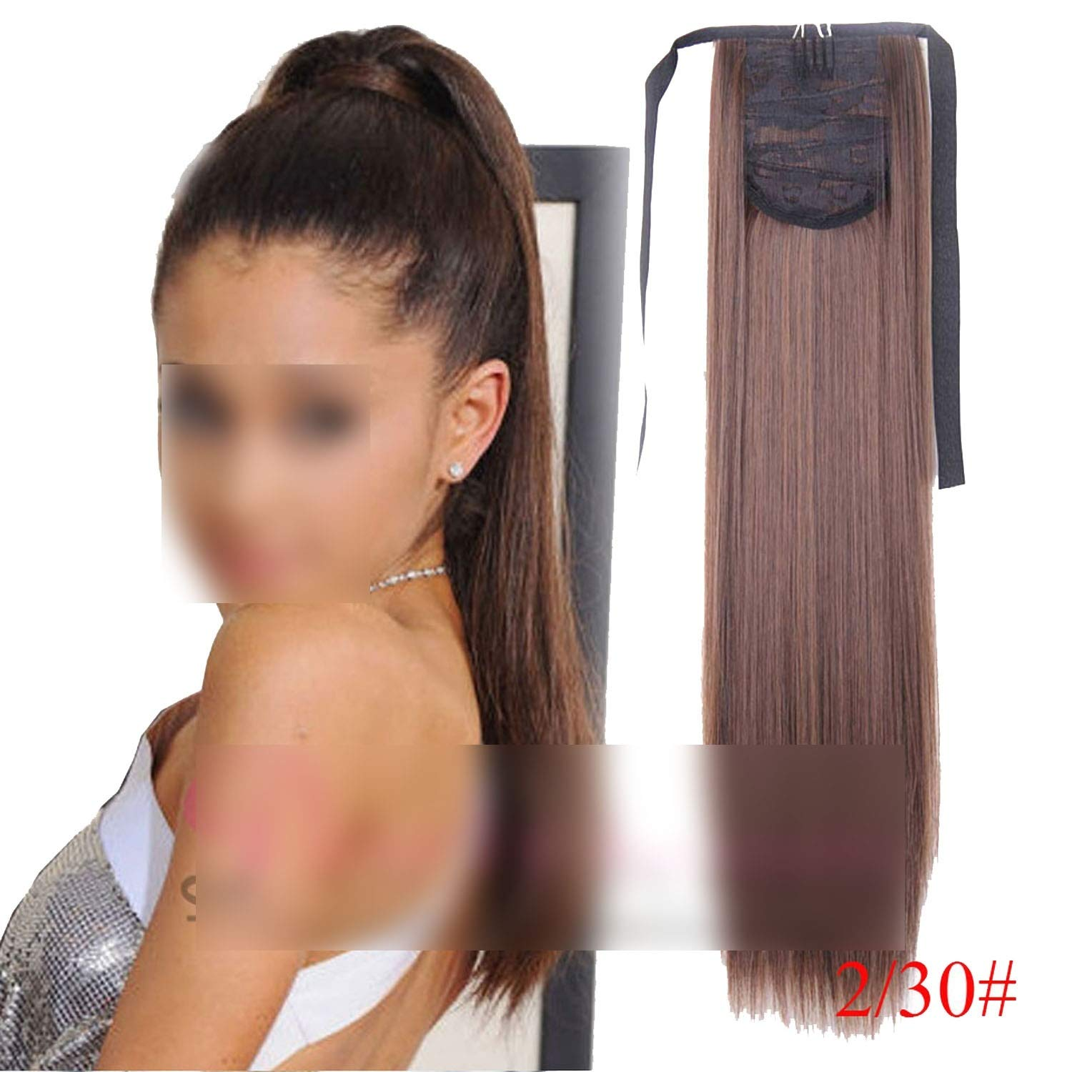 22'' Long Straight Synthetic Ponytail High Temperature Fiber Clip in Hairpiece Ponytail,T1B/30 by 100Expectations-hairpiece