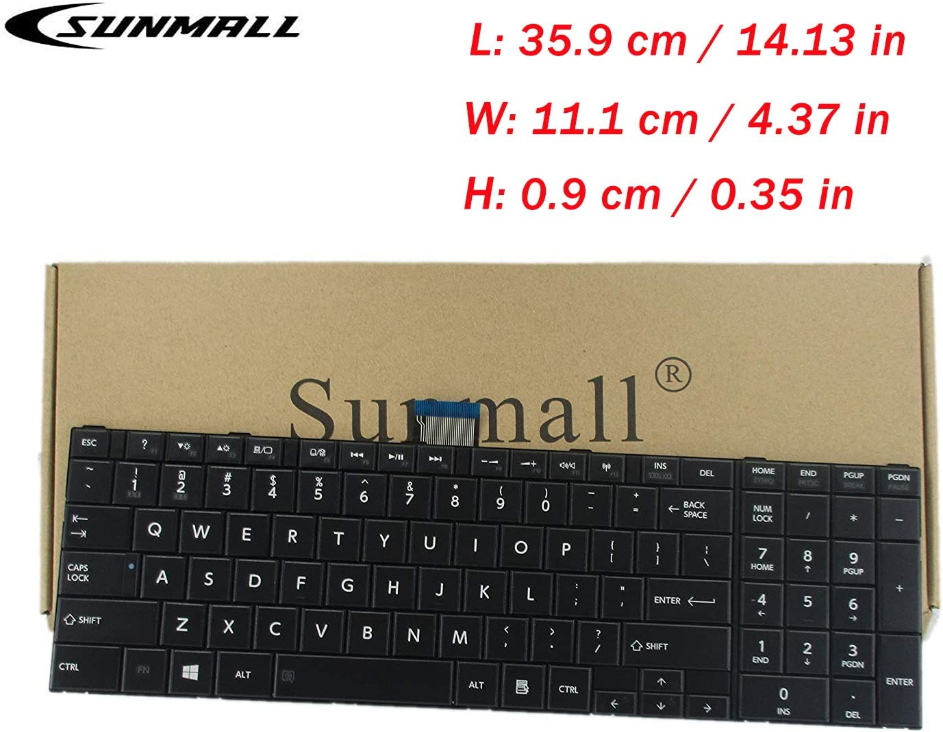 SUNMALL Keyboard Replacement Compatible with Toshiba Satellite C50-A C55-A C55D-A C55T-A C55DT-A C55DT-A Series Laptop,fits Part Number V143026CS1 132412258 (DO NOT FIT C50-B, C50D-B,C55-B, C55D-B)