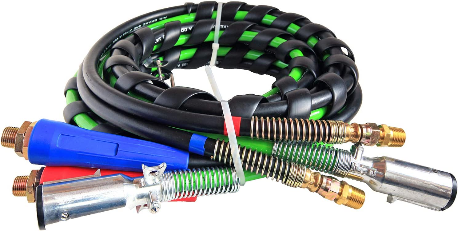 TR813215 TORQUE 15ft 3 in 1 ABS /& Air Power Line Hose Wrap 7 Way Electrical Cable with Handle Grip /& 2 of 25 Tender Spring for Semi Truck Trailer Tractor