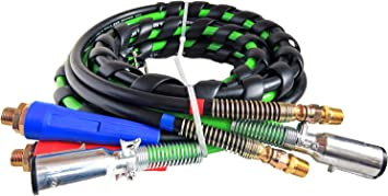 TR813212, 2 x TR035038 3 in 1 12ft ABS /& Air Line Hose Wrap 7 Way Electrical Cable with Aluminium Handle Grip /& Gladhands Replaces for Philips 30-2171, Tectran 169157