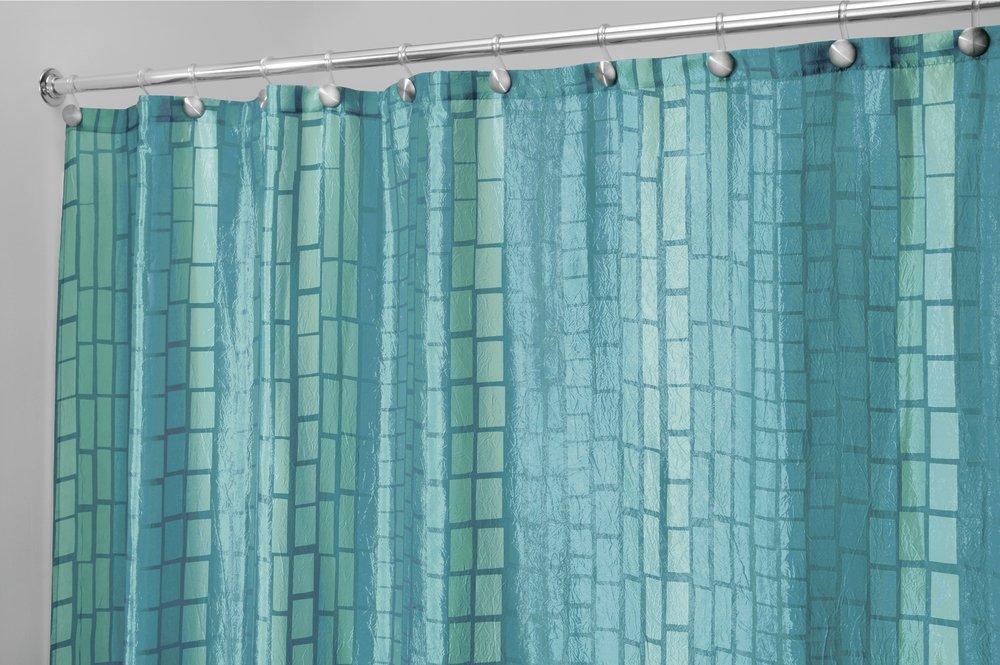 Amazon.com: mDesign Crinkle Stripe Fabric Shower Curtain - 72\