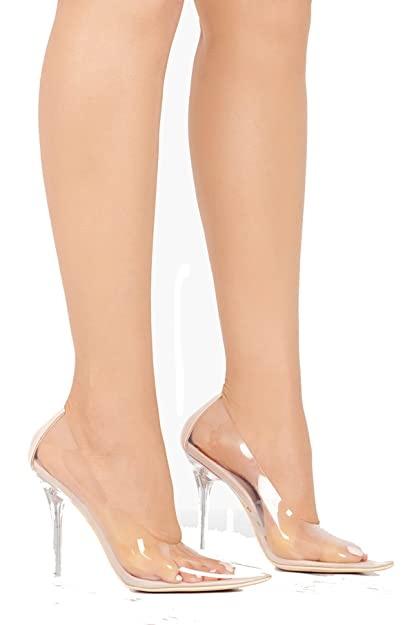dc77efc5ea6 Michelle Parker Cape Robbin Glass Doll Transparent Transparent Clear  Pointed Pointy Toe Slip On Stiletto High