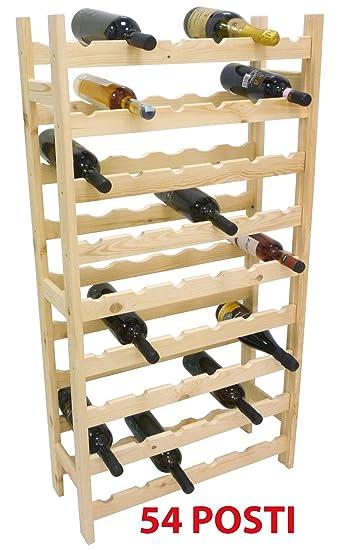Mobile porta bottiglie cantinetta vino in legno Naturale 54 posti ...