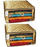 Kuber Industries™ Saree Cover Set of 2 Pcs Large Size in Golden Satin Wedding Gift