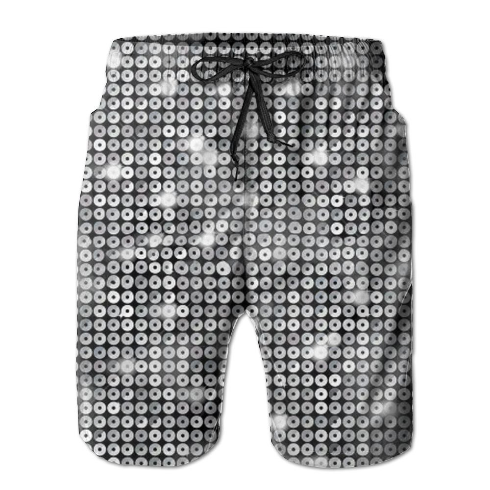 d3fae3f45f Poouytger Men's Casual Shorts Swim Trunks Summer Beach Pants Swimsuits Golf  Shorts Silver Sequin Sparkle Print | Amazon.com