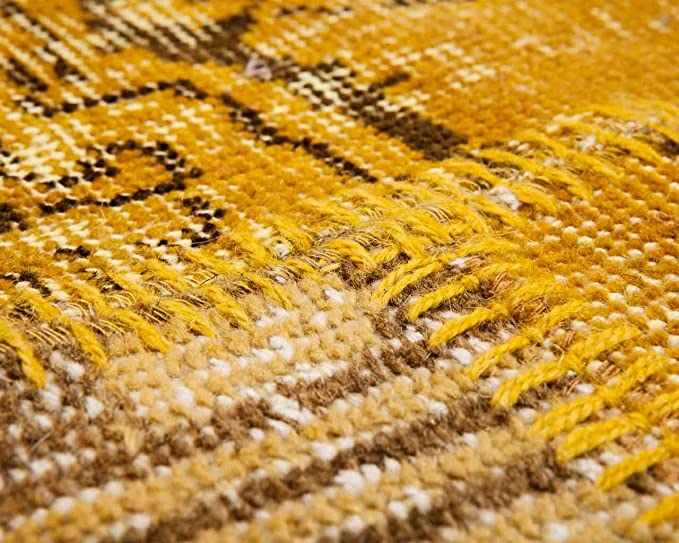 The Rug House Milan Alfombra de Tejido Ikat con dise/ño a Rayas moteada descolorida Color Amarillo Ocre Mostaza Gris Beige Crema 80cm x 150cm