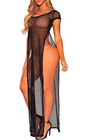 86af258aaf9ca Lookwoild Womens Sexy Mesh Bikini Cover Up Solid See Through Beachwear  Blouse Sheer Mesh Swimwear Fishnet