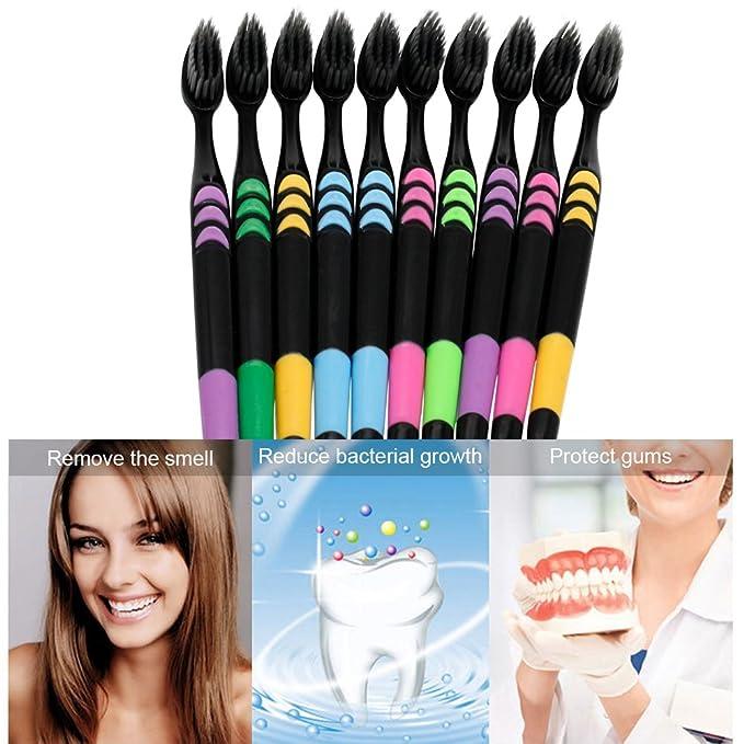 Cepillo de dientes, Cepillos manuales, pack de 10 Para Cepillos De Dientes Con limpiador lingual, Medium, 5 colores (Cepillo de dientes para boca Higiene, ...