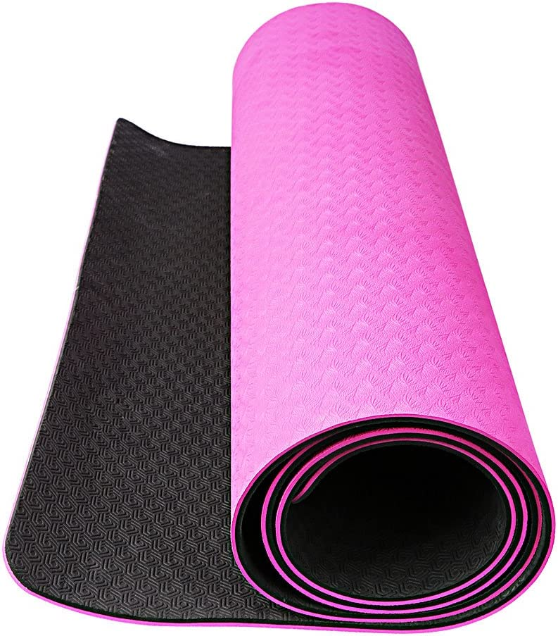 OXA 6mm Extra Thick Yoga Mat 71 X 28 with Carrying Strap and Belt,Non Slip and Anti-Tear Eco Friendly TPE Hot Pilates Mat