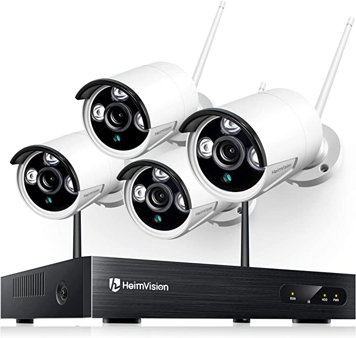 heimvision HM241 1080P Wireless Security Camera System, 8CH NVR 4Pcs Home Outdoor WiFi Surveillance Camera with Night Vision, Waterproof, Motion Alert, Remote Access, No Hard Disk