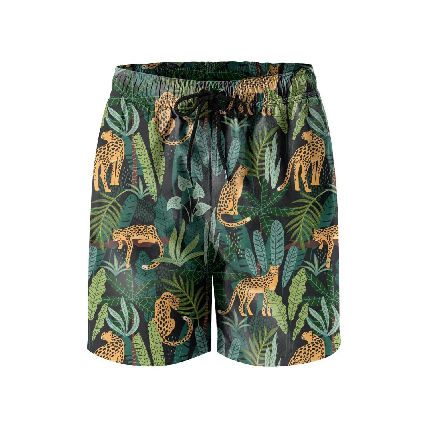 f4679171f6a2 Men's Swim Trunks Roses Leopard Skin Jaguar Print Quick Dry Bathing Suits  Mesh Lining Beach Board Shorts | Amazon.com