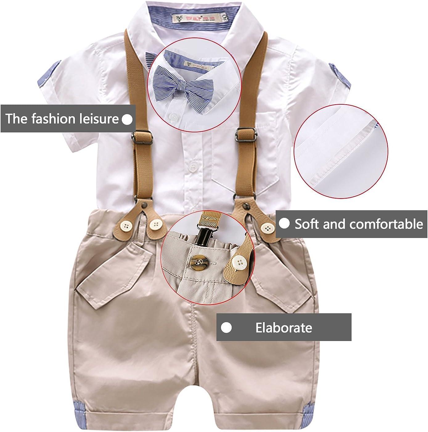4pcs Conjunto de Ropa de Bautizo Camiseta Pantalones Cortos para Beb/é Ni/ño Smoking Elegante Luoting