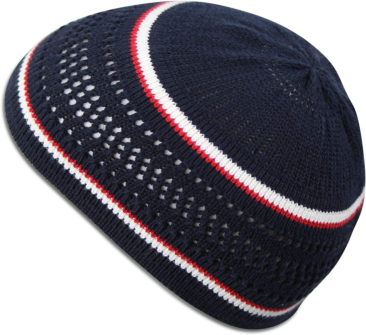 100/% Cotton Skull Cap Chemo Kufi Under Helmet Beanie Hats in Solid Colors and Stripes
