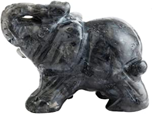 "SUNYIK Labradorite Elephant Pocket Statue Kitchen Guardian Healing Figurine Decor 1.5"""
