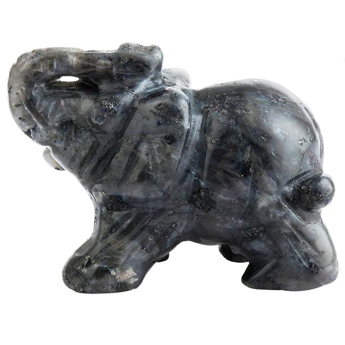 "Sunyik Labradorite Elephant Pocket Carving Bookend Amulet Figurine Decor 3"" by Sunyik"