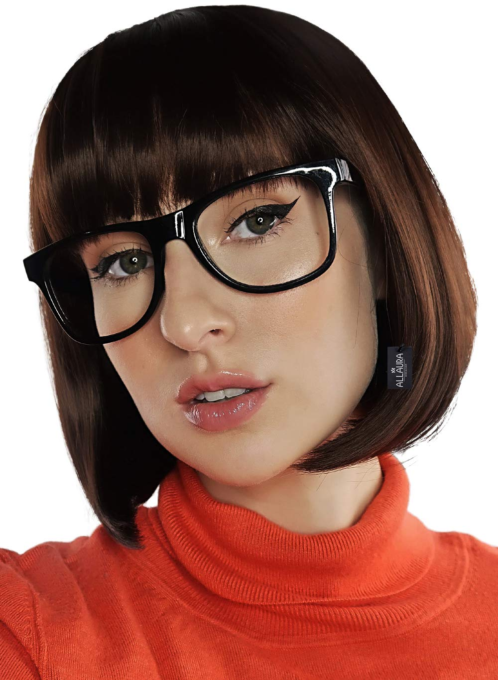 Brown Bob & Black Glasses Costume Set Cosplay Flapper Wigs With Bangs Fits Womens & Girls