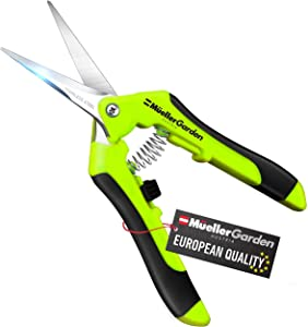 Mueller UltraPrecise Garden Snips, 6.5 inch Comfortable Garden Scissors with Safety Lock, Ultra Sharp Stainless Steel Blades, and Precision Cut Pruner