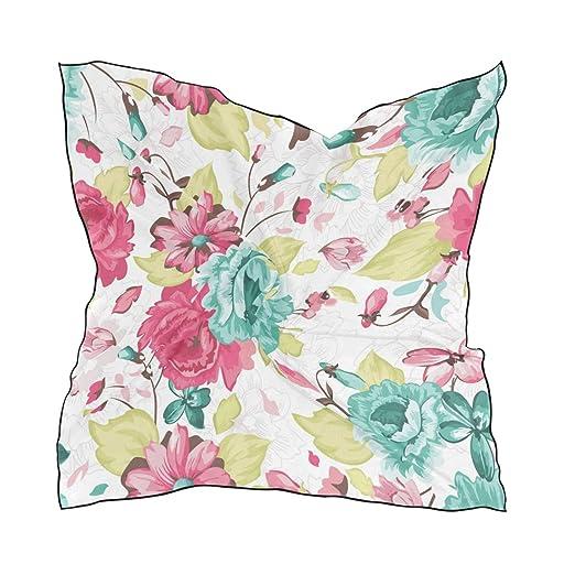 7f02f59df6e87 LORVIES Womens Watercolor Flowers Silk Feeling Square Scarf Satin ...