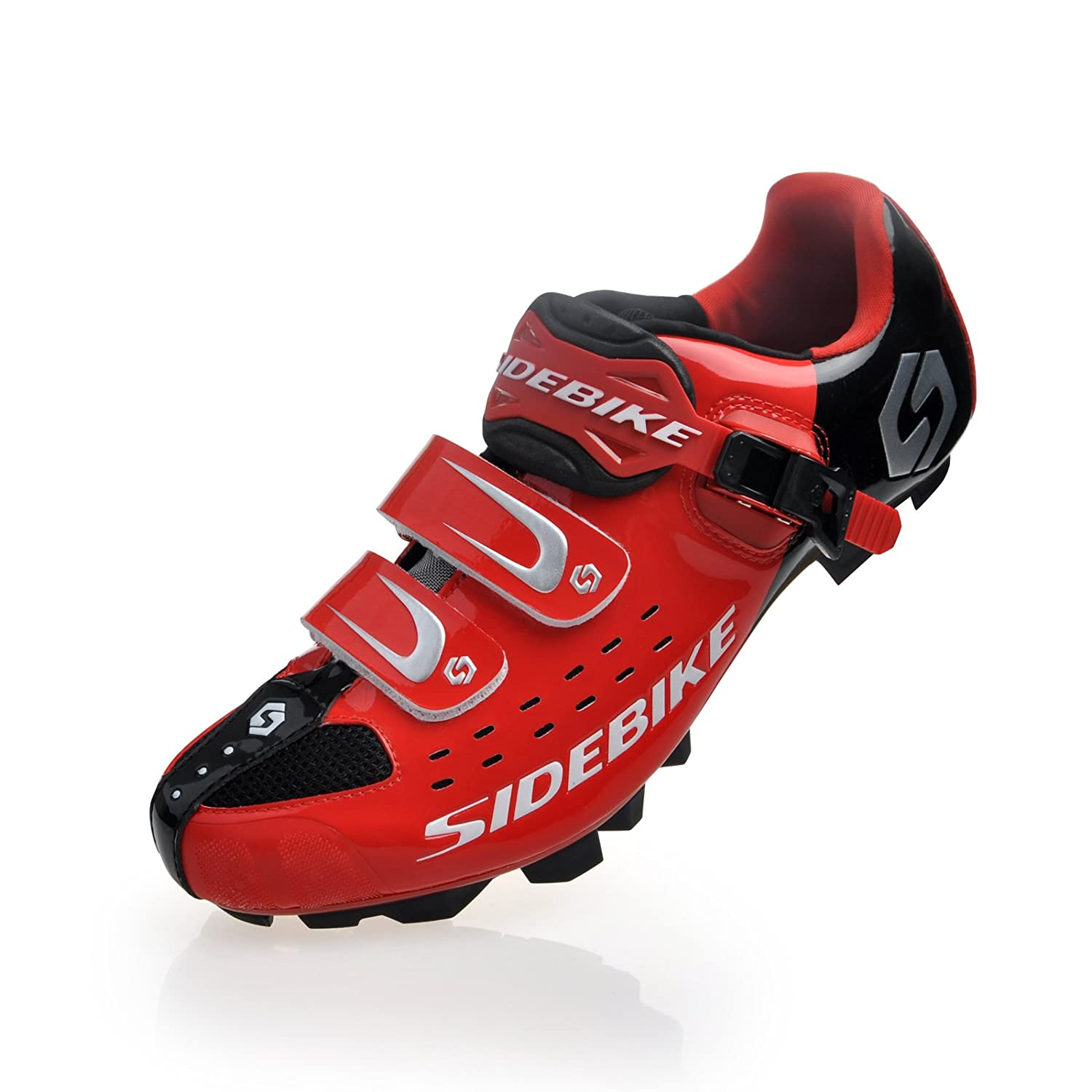 Smartodoors Cycling Shoes with Carbon Soles or Nylon Tpu Soles for Road and MTB B00O0S9XCO US13/EU46/Ft29cm|SD01-MTB-Black/red