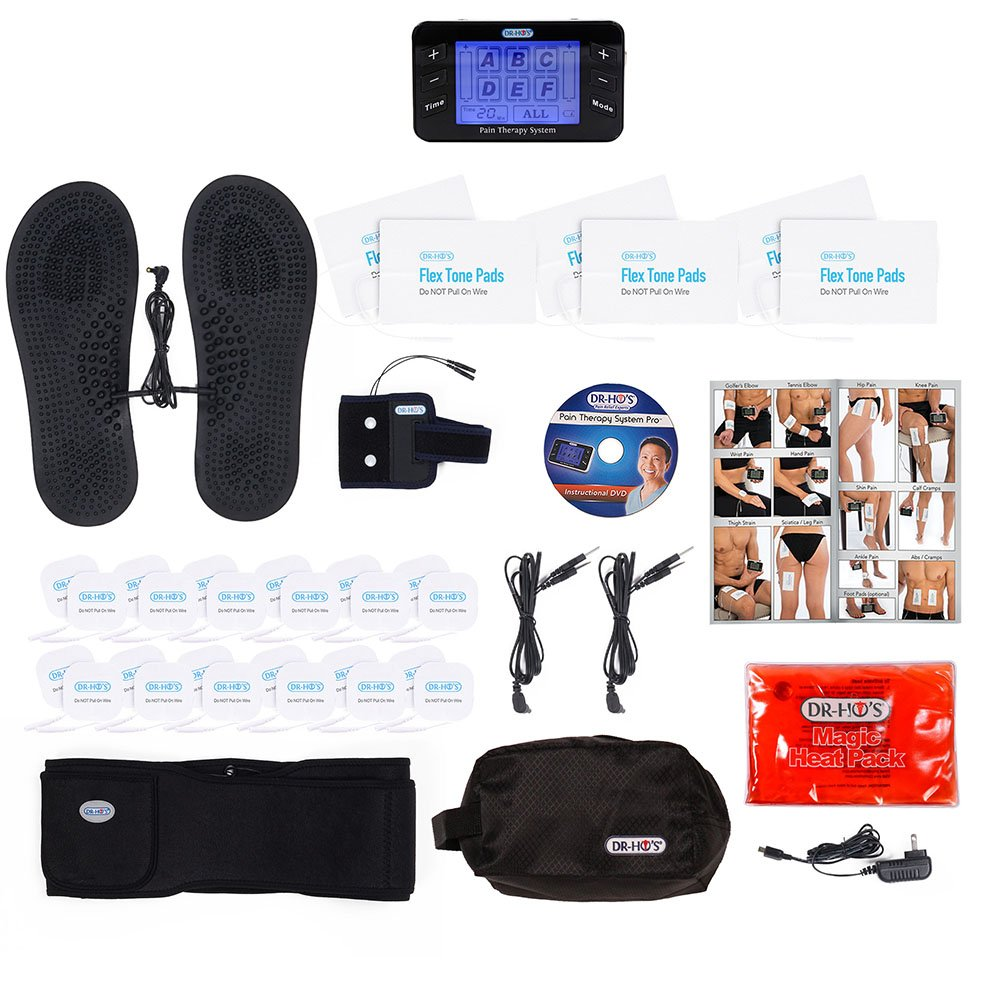 DR-HO'S ® Pain Therapy System Pro Ultimate Package TENS Machine Unit (Black)- 24 Small pads, 6 Large pads, 1 pair of Travel Foot Therapy Pads, Pain Therapy Back Relief Belt & more.