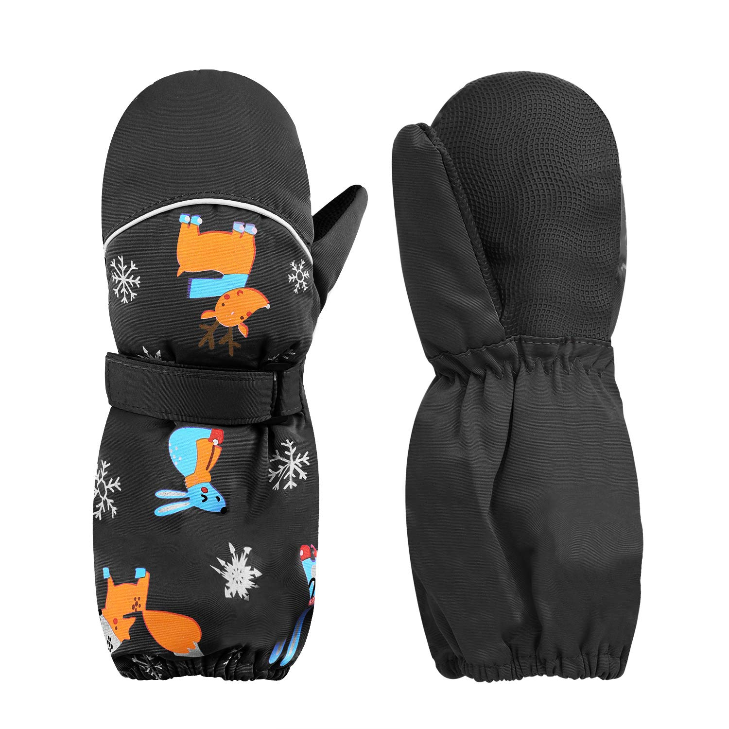 Kids Insulated Ski Gloves Waterproof /& Windproof Winter Ski Snow Glove Knitted Cuff Gloves for Age 1-3 Years Boys Girls