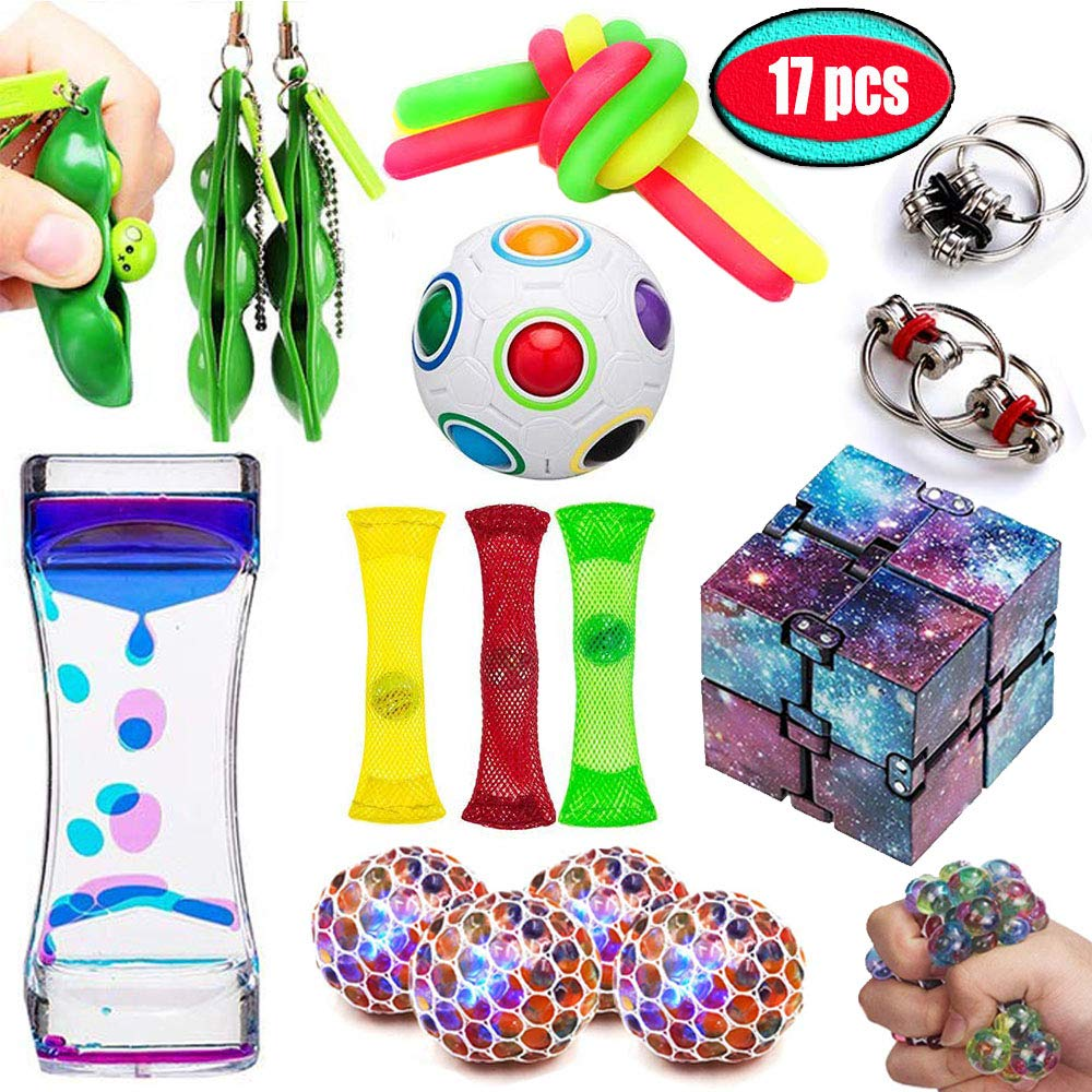 UPSTONE Fidget Toys Bundle Sensory Toys Set-Liquid Motion Timer/Rainbow Magic Ball/Stretchy String/Infinity Cube Stress Relief Hands Toys for Children and Adults Therapy Toys for ADHD Anxiety Autism by UPSTONE (Image #1)